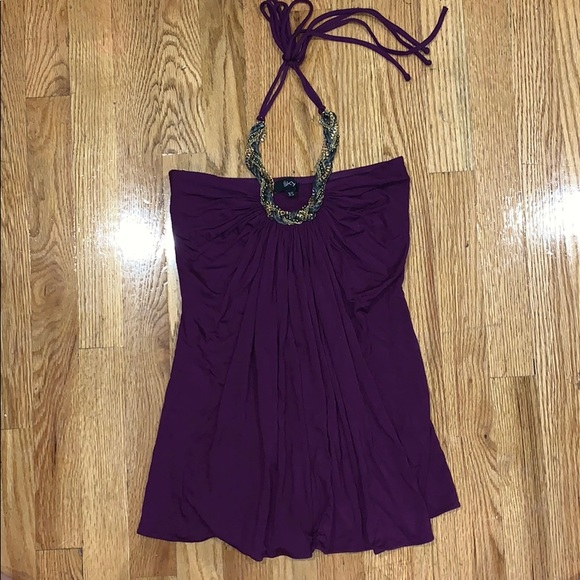 Sky Tops - Purple Halter Top with Chain Neck